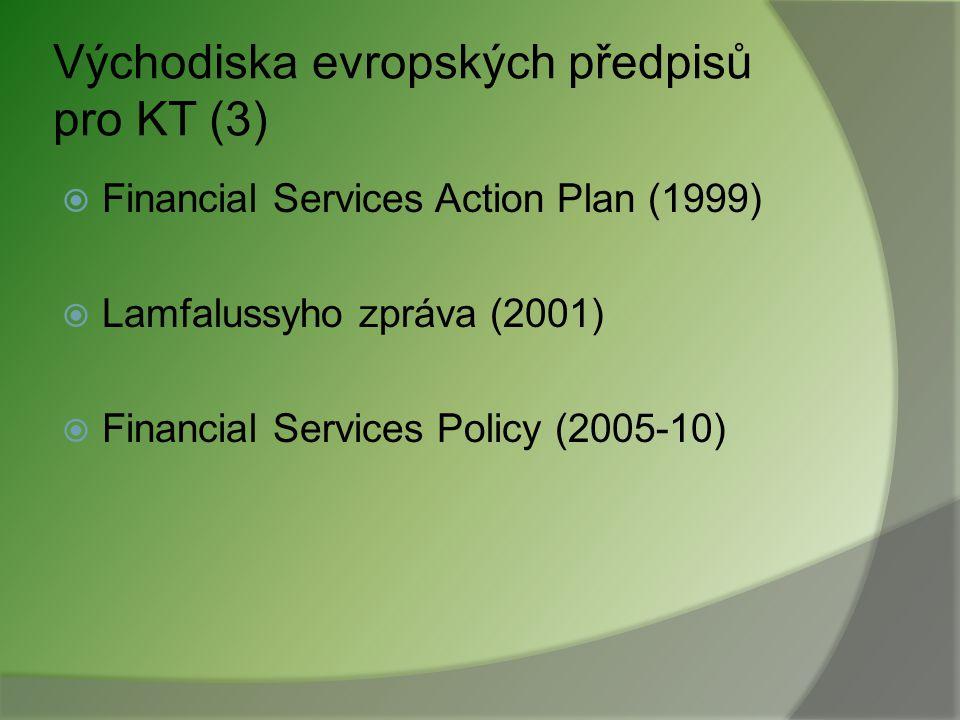 """Evropské předpisy pro kapitálový trh (5) Kolektivní investování Směrnice o """"UCITS (85/611/EHS) Prováděcí směrnice o přípustných aktivech (2007/16/ES) Penzijní fondy Směrnice o činnosti a dohledu zaměstnaneckých penzijních institucí (2003/41/ES)"""