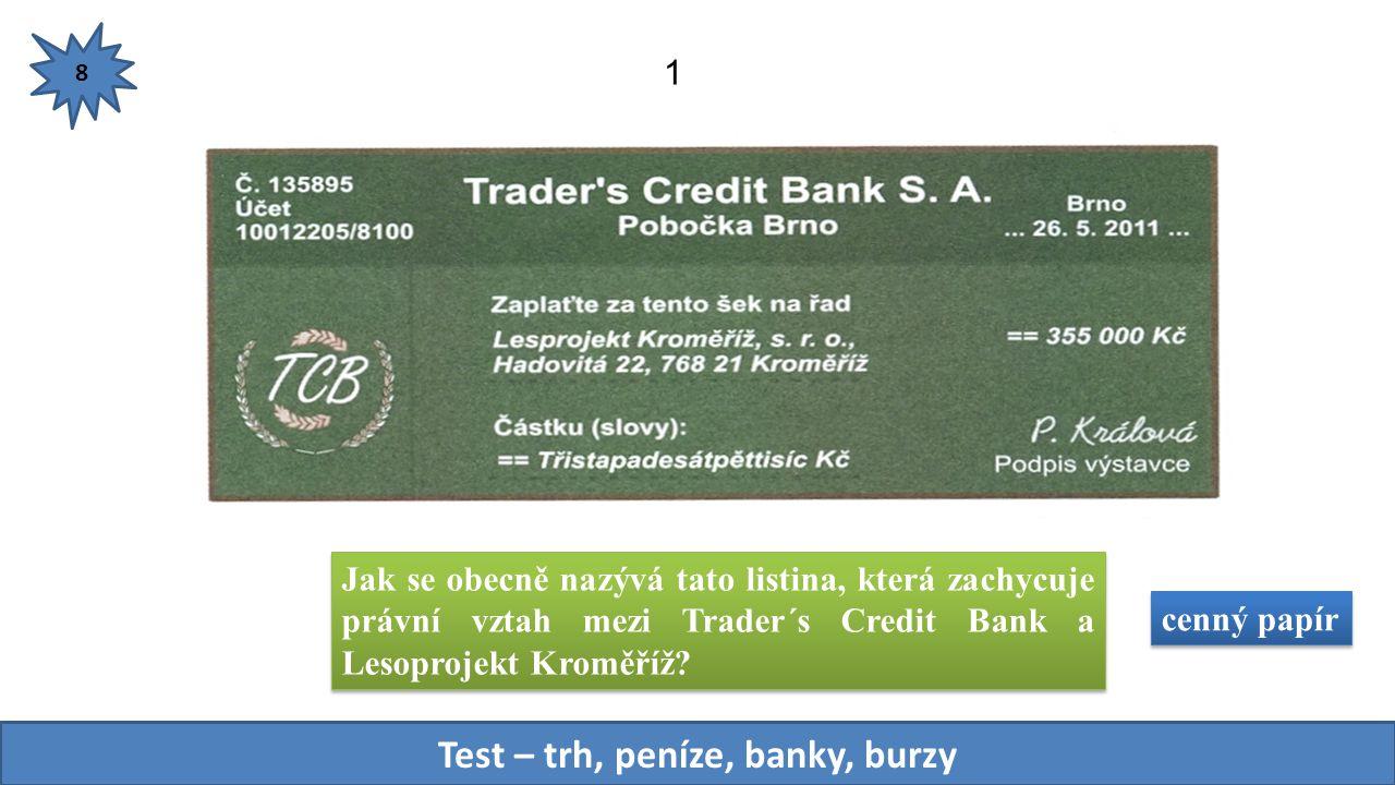 Jak se obecně nazývá tato listina, která zachycuje právní vztah mezi Trader´s Credit Bank a Lesoprojekt Kroměříž.