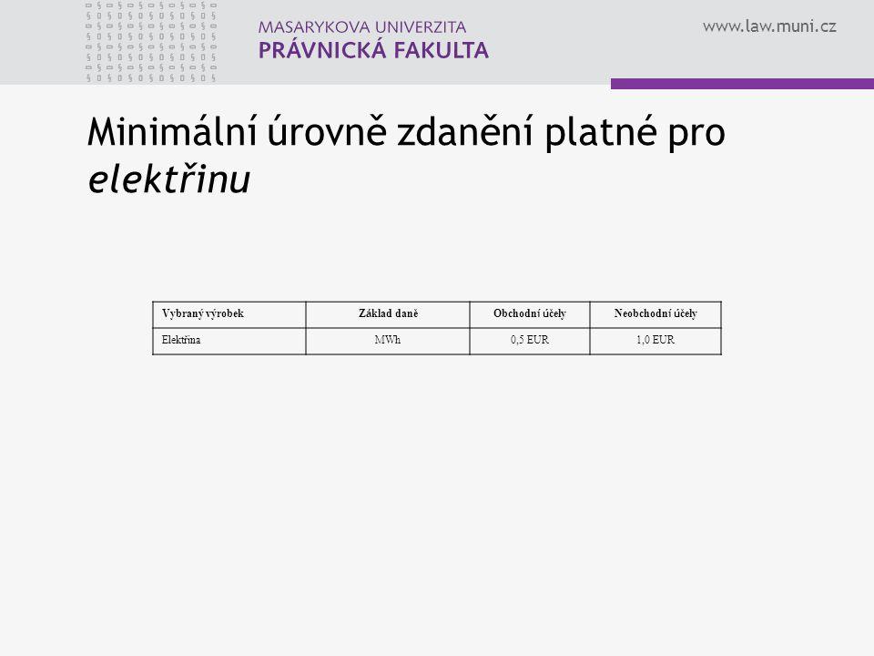 www.law.muni.cz Vybraný výrobek Z á klad daněObchodn í ú čelyNeobchodn í ú čely ElektřinaMWh0,5 EUR1,0 EUR Minimální úrovně zdanění platné pro elektři