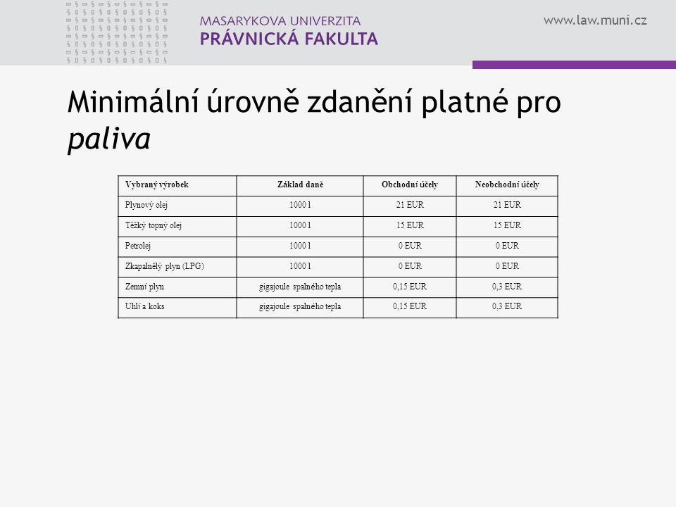 www.law.muni.cz Vybraný výrobek Z á klad daněObchodn í ú čelyNeobchodn í ú čely ElektřinaMWh0,5 EUR1,0 EUR Minimální úrovně zdanění platné pro elektřinu