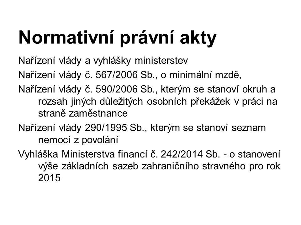 Nařízení vlády a vyhlášky ministerstev Nařízení vlády č. 567/2006 Sb., o minimální mzdě, Nařízení vlády č. 590/2006 Sb., kterým se stanoví okruh a roz