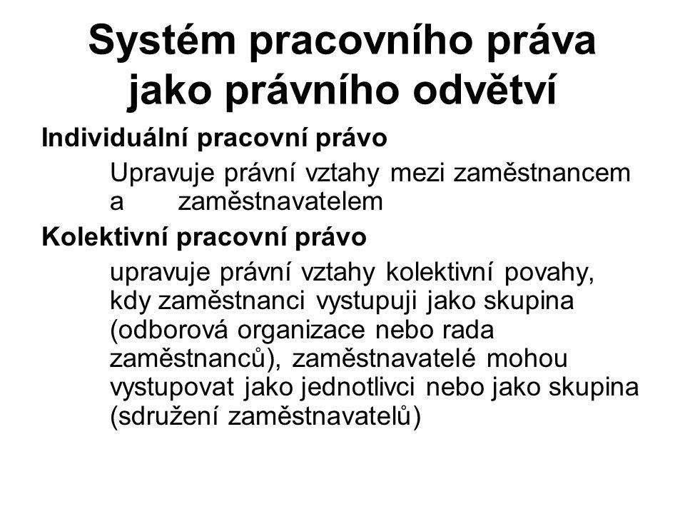 Individuální pracovní právo Upravuje právní vztahy mezi zaměstnancem a zaměstnavatelem Kolektivní pracovní právo upravuje právní vztahy kolektivní povahy, kdy zaměstnanci vystupuji jako skupina (odborová organizace nebo rada zaměstnanců), zaměstnavatelé mohou vystupovat jako jednotlivci nebo jako skupina (sdružení zaměstnavatelů) Systém pracovního práva jako právního odvětví