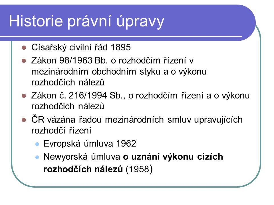 Historie právní úpravy Císařský civilní řád 1895 Zákon 98/1963 Bb.