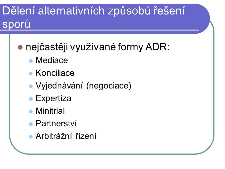 Dělení alternativních způsobů řešení sporů nejčastěji využívané formy ADR: Mediace Konciliace Vyjednávání (negociace) Expertíza Minitrial Partnerství Arbitrážní řízení