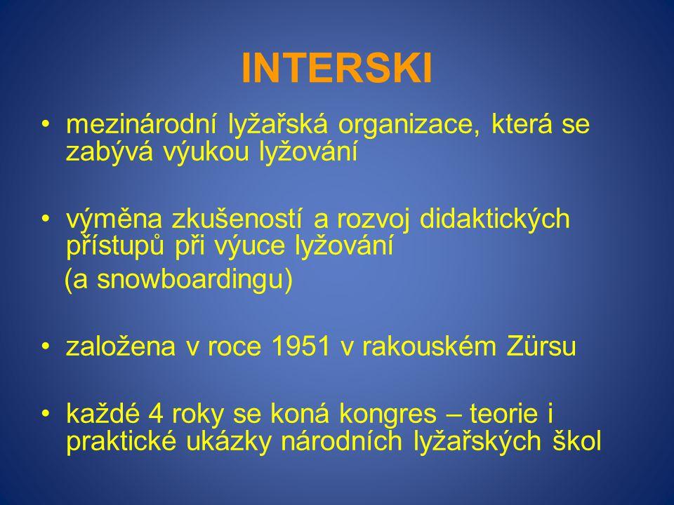 INTERSKI mezinárodní lyžařská organizace, která se zabývá výukou lyžování výměna zkušeností a rozvoj didaktických přístupů při výuce lyžování (a snowb