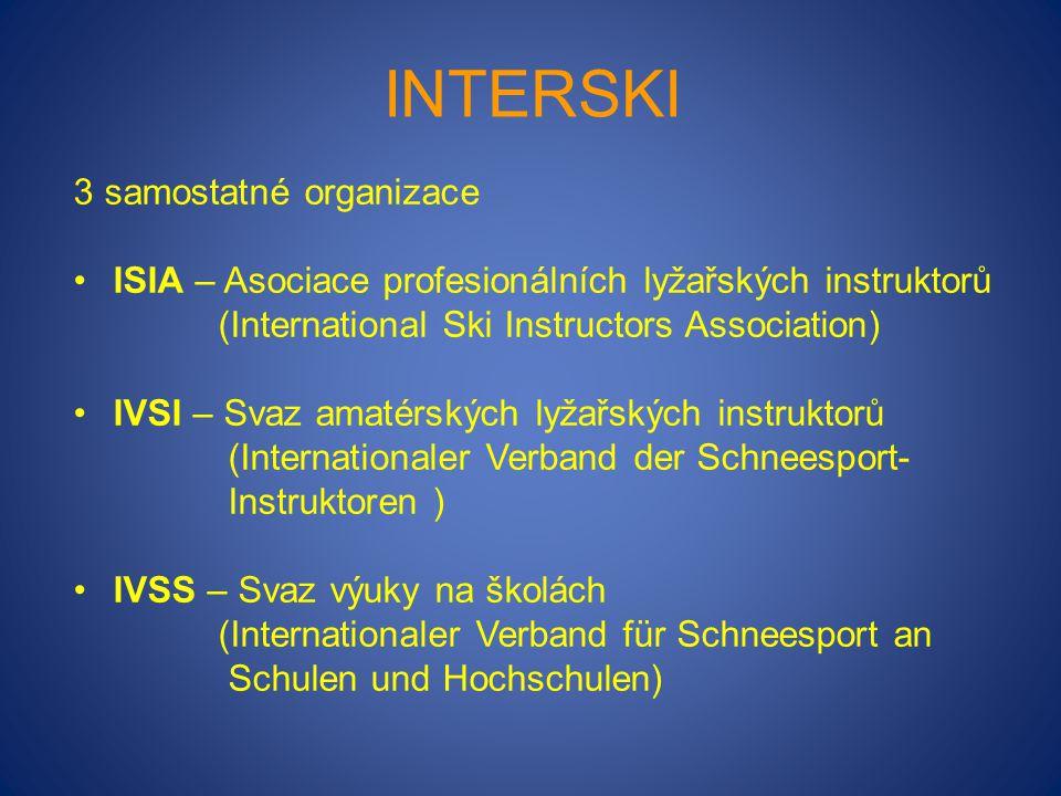 INTERSKI 3 samostatné organizace ISIA – Asociace profesionálních lyžařských instruktorů (International Ski Instructors Association) IVSI – Svaz amatér