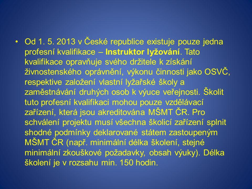 Od 1. 5. 2013 v České republice existuje pouze jedna profesní kvalifikace – Instruktor lyžování. Tato kvalifikace opravňuje svého držitele k získání ž