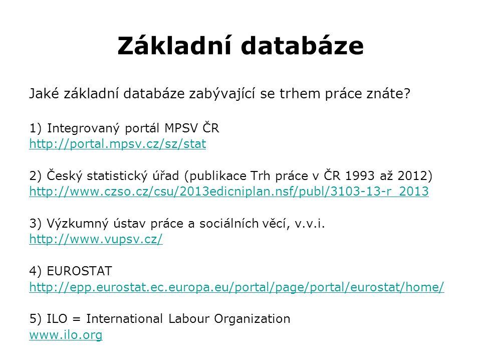 Základní databáze Jaké základní databáze zabývající se trhem práce znáte.
