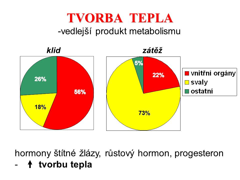 klidzátěž 56% 22% 26% 5% 18% 73% TVORBA TEPLA hormony štítné žlázy, růstový hormon, progesteron -tvorbu tepla -vedlejší produkt metabolismu