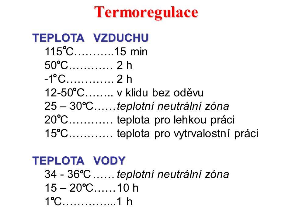 Termoregulace TEPLOTA VZDUCHU 115 C………..15 min 50 C…………2 h -1 C………….2 h 12-50 C……..v klidu bez oděvu 25 – 30 C……teplotní neutrální zóna 20 C…………teplot