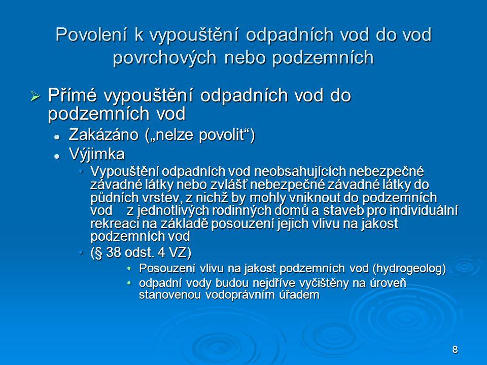 """8 Povolení k vypouštění odpadních vod do vod povrchových nebo podzemních  Přímé vypouštění odpadních vod do podzemních vod Zakázáno (""""nelze povolit"""")"""