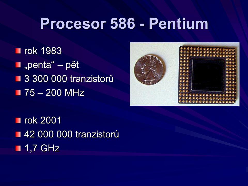 "Procesor 586 - Pentium rok 1983 ""penta"" – pět 3 300 000 tranzistorů 75 – 200 MHz rok 2001 42 000 000 tranzistorů 1,7 GHz"