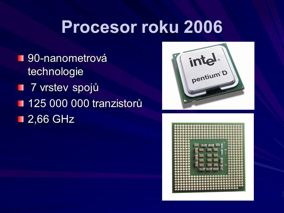 Procesor roku 2006 90-nanometrová technologie 7 vrstev spojů 7 vrstev spojů 125 000 000 tranzistorů 2,66 GHz