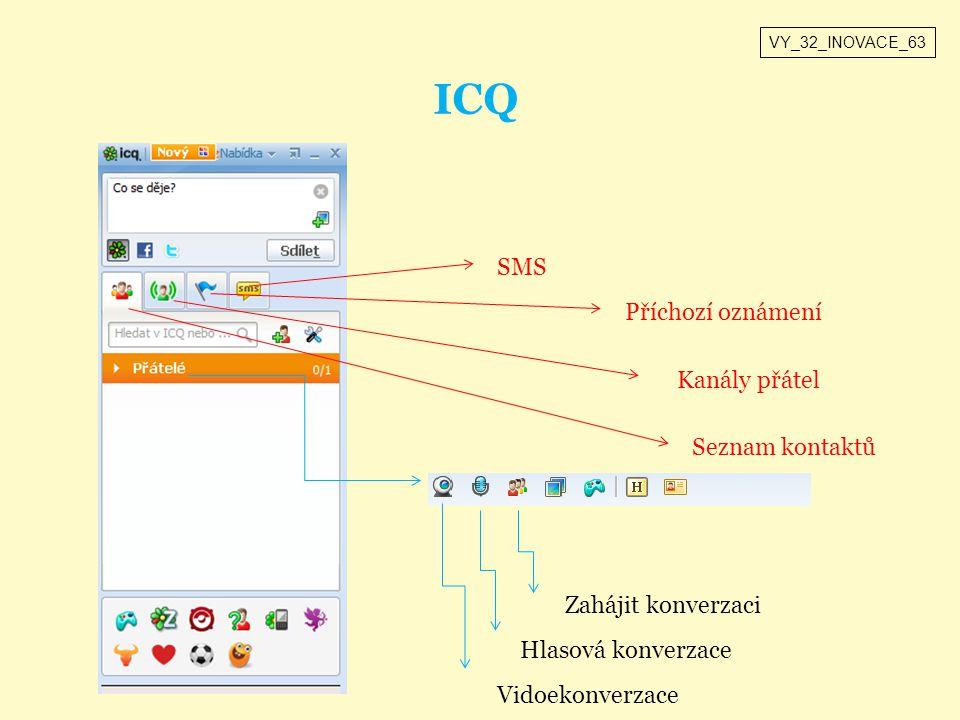 ICQ Seznam kontaktů Kanály přátel Příchozí oznámení SMS Vidoekonverzace Hlasová konverzace Zahájit konverzaci VY_32_INOVACE_63