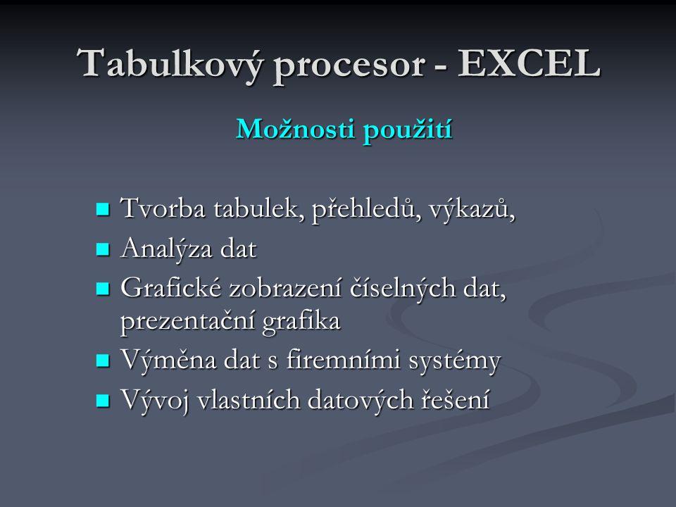 Tabulkový procesor - EXCEL Možnosti použití Tvorba tabulek, přehledů, výkazů, Tvorba tabulek, přehledů, výkazů, Analýza dat Analýza dat Grafické zobrazení číselných dat, prezentační grafika Grafické zobrazení číselných dat, prezentační grafika Výměna dat s firemními systémy Výměna dat s firemními systémy Vývoj vlastních datových řešení Vývoj vlastních datových řešení