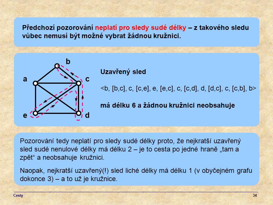 34 Předchozí pozorování neplatí pro sledy sudé délky – z takového sledu vůbec nemusí být možné vybrat žádnou kružnici. a ed b c Uzavřený sled má délku
