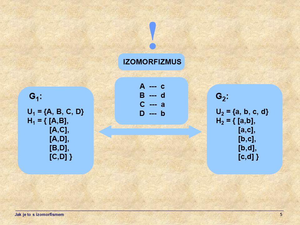 5 IZOMORFIZMUS ! A --- c B --- d C --- a D --- b U 1 = {A, B, C, D} H 1 = { [A,B], [A,C], [A,D], [B,D], [C,D] } G1:G1: U 2 = {a, b, c, d} H 2 = { [a,b