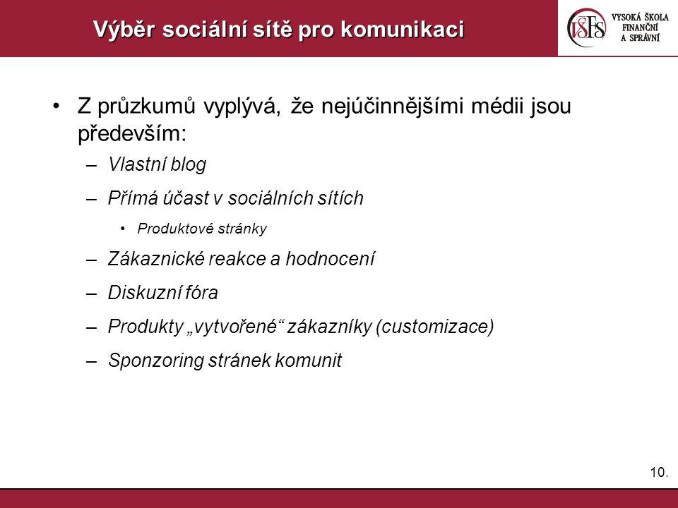 10. Výběr sociální sítě pro komunikaci Z průzkumů vyplývá, že nejúčinnějšími médii jsou především: –Vlastní blog –Přímá účast v sociálních sítích Prod