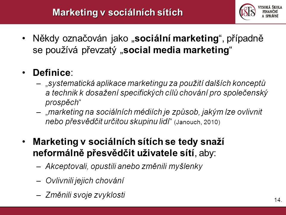 """14. Marketing v sociálních sítích Někdy označován jako """"sociální marketing"""", případně se používá převzatý """"social media marketing"""" Definice: –""""systema"""