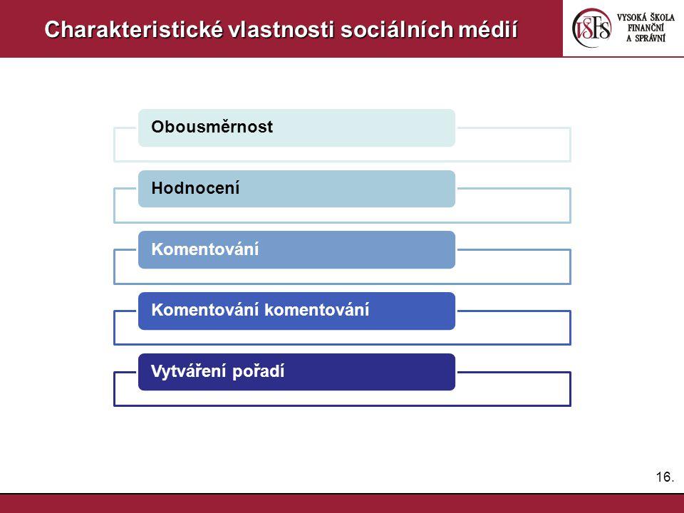 16. Charakteristické vlastnosti sociálních médií ObousměrnostHodnoceníKomentováníKomentování komentováníVytváření pořadí