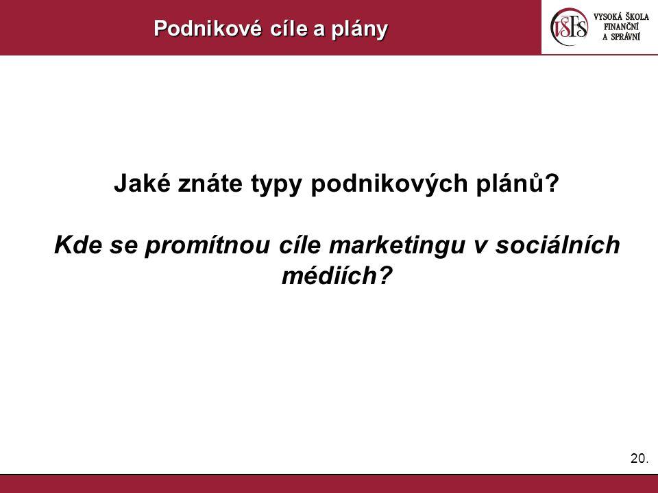 20. Podnikové cíle a plány Jaké znáte typy podnikových plánů? Kde se promítnou cíle marketingu v sociálních médiích?