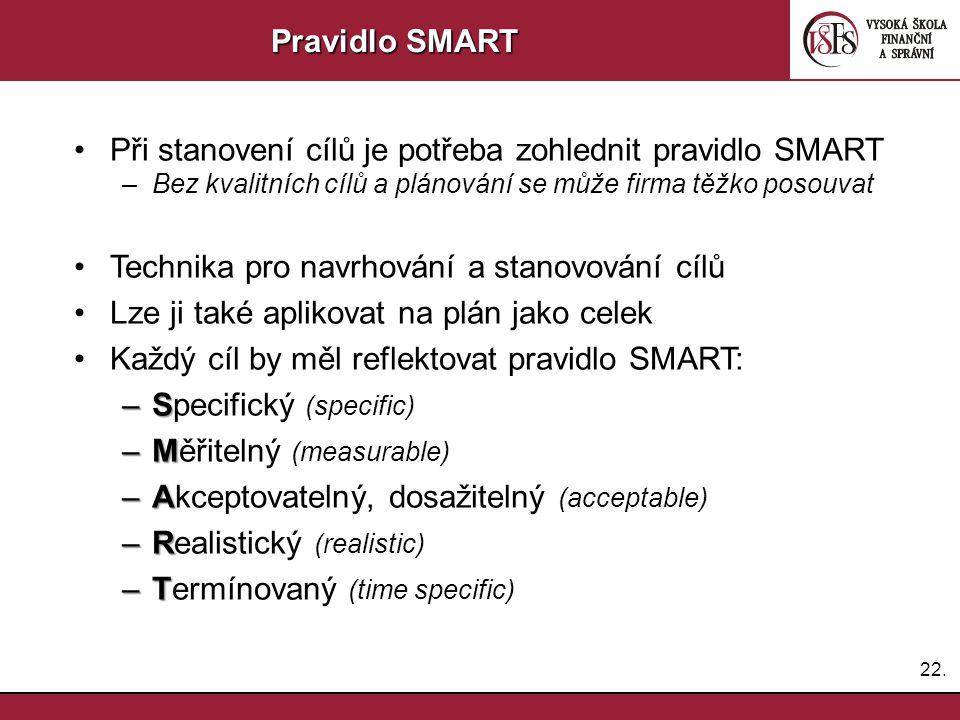 22. Pravidlo SMART Při stanovení cílů je potřeba zohlednit pravidlo SMART –Bez kvalitních cílů a plánování se může firma těžko posouvat Technika pro n