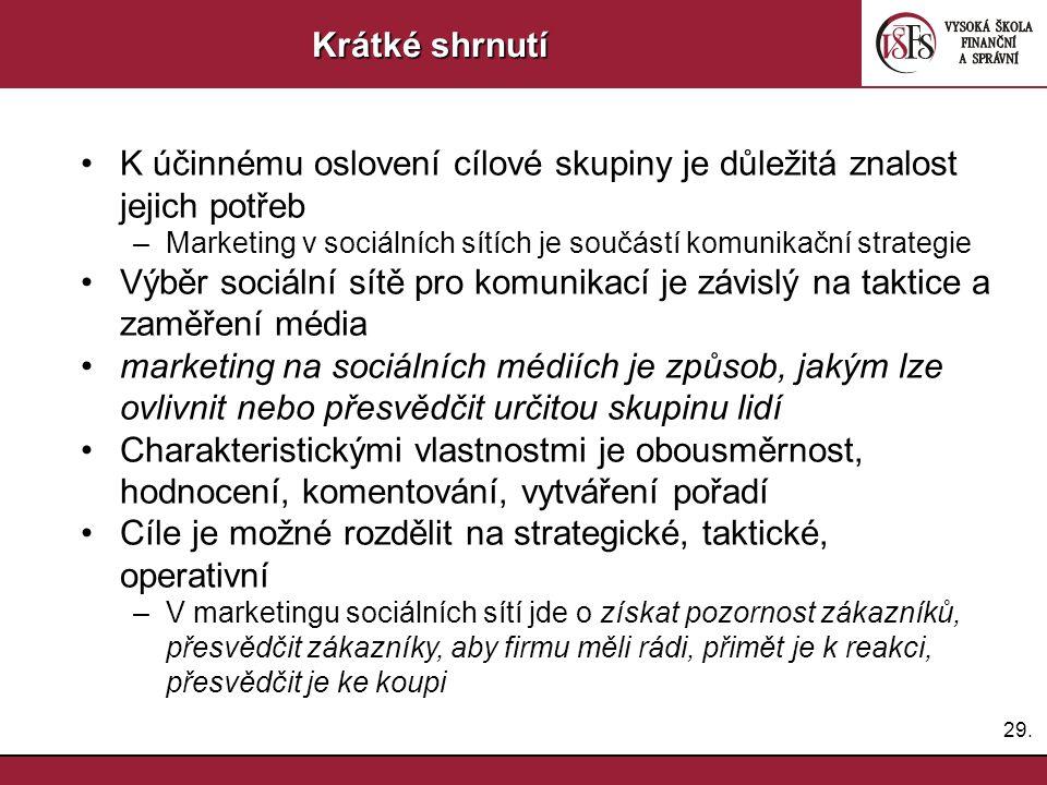 29. Krátké shrnutí K účinnému oslovení cílové skupiny je důležitá znalost jejich potřeb –Marketing v sociálních sítích je součástí komunikační strateg