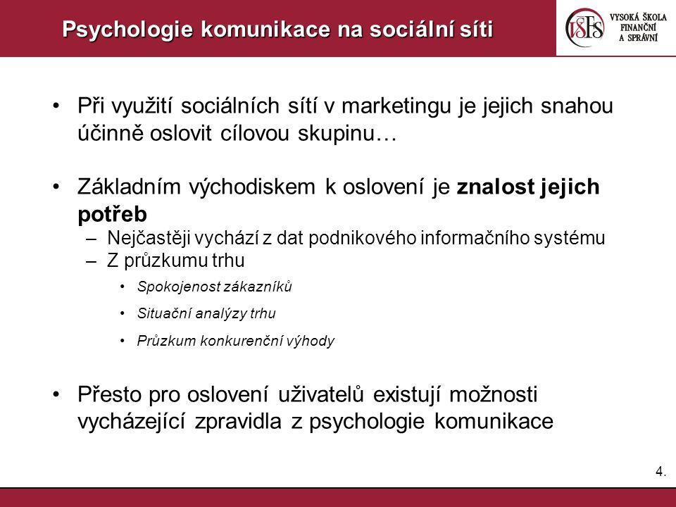 4.4. Psychologie komunikace na sociální síti Při využití sociálních sítí v marketingu je jejich snahou účinně oslovit cílovou skupinu… Základním výcho