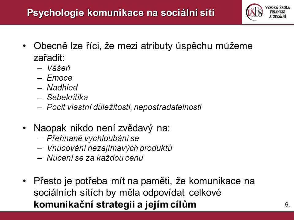 6.6. Psychologie komunikace na sociální síti Obecně lze říci, že mezi atributy úspěchu můžeme zařadit: –Vášeň –Emoce –Nadhled –Sebekritika –Pocit vlas