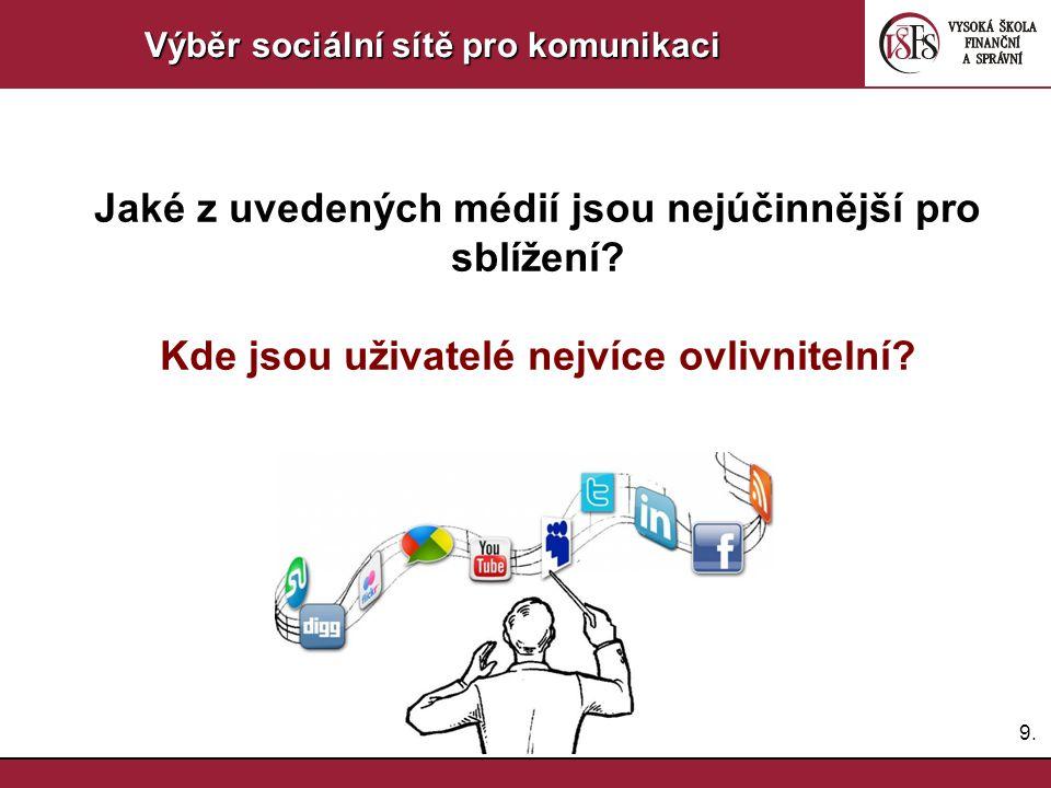 9.9. Výběr sociální sítě pro komunikaci Jaké z uvedených médií jsou nejúčinnější pro sblížení? Kde jsou uživatelé nejvíce ovlivnitelní?