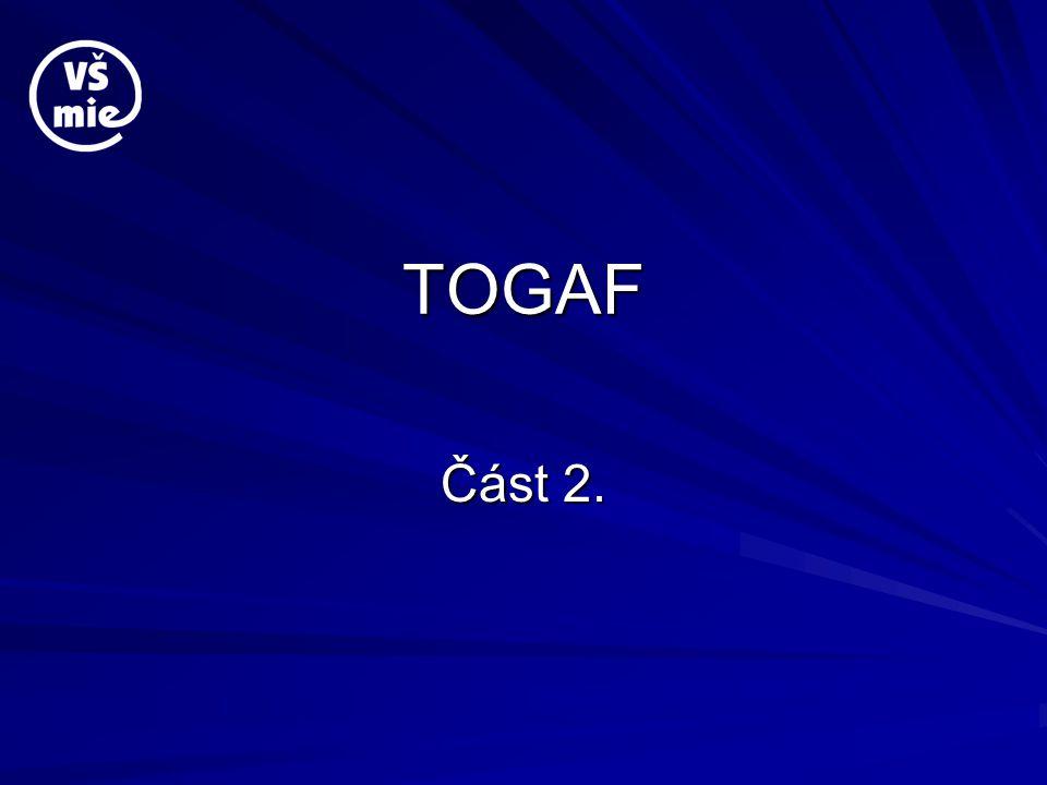 TOGAF je MDG (1) TOGAF je implementace MDG MDG = Model Driven Generation technologie Model-Driven Architecture (MDA) je způsob vývoje softwarových systémů.