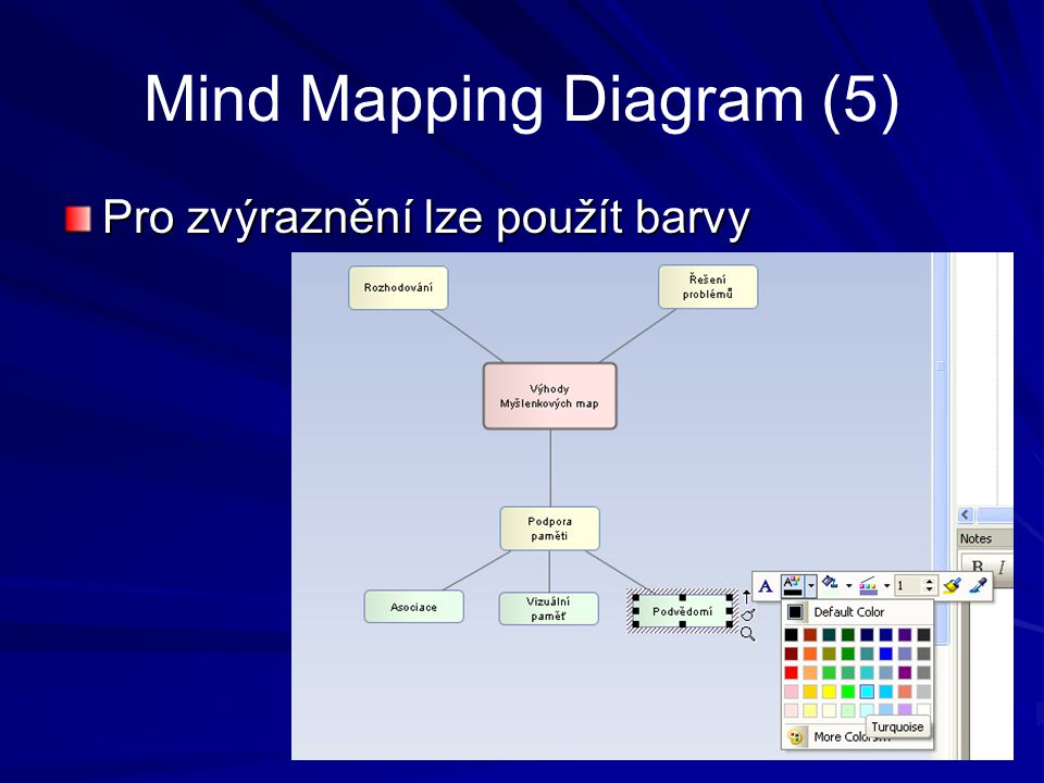 Mind Mapping Diagram (5) Případně lze změnit rozložení grafu: vyberte témata a ve View  Layout tools vyberte druh rozložení.