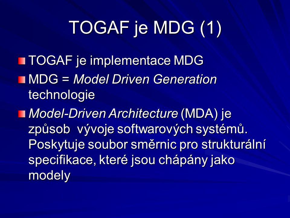 TOGAF je MDG (1) TOGAF je implementace MDG MDG = Model Driven Generation technologie Model-Driven Architecture (MDA) je způsob vývoje softwarových sys