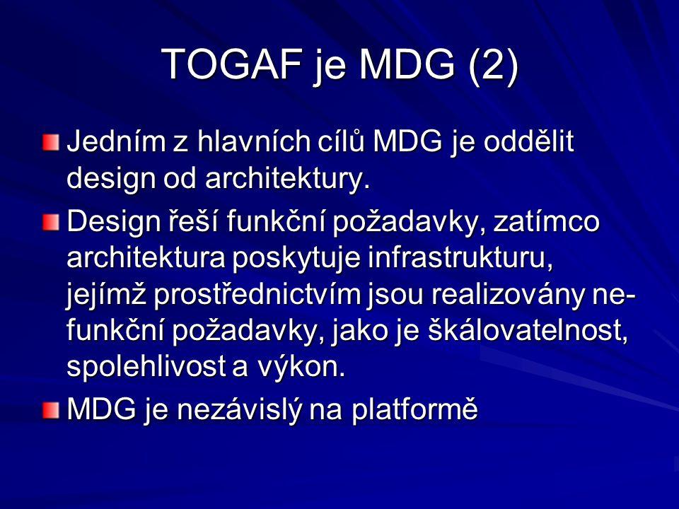 TOGAF je MDG (2) Jedním z hlavních cílů MDG je oddělit design od architektury. Design řeší funkční požadavky, zatímco architektura poskytuje infrastru
