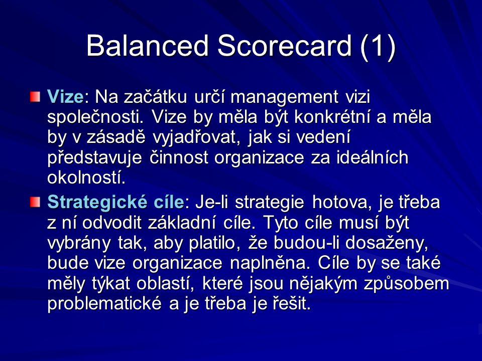 Balanced Scorecard (1) Vize: Na začátku určí management vizi společnosti. Vize by měla být konkrétní a měla by v zásadě vyjadřovat, jak si vedení před