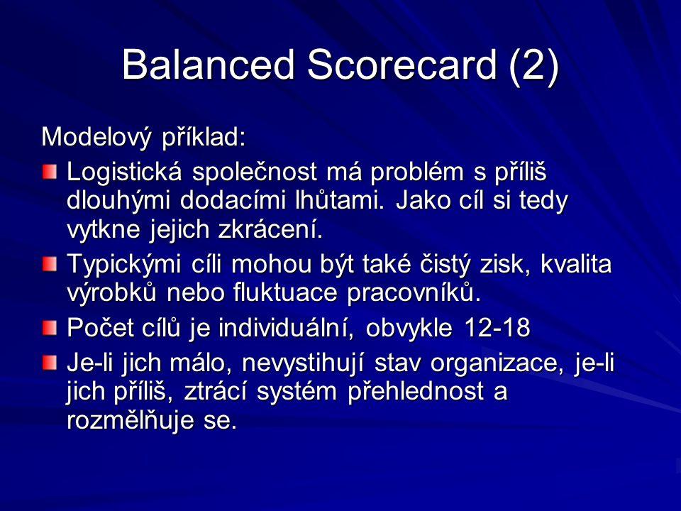 Balanced Scorecard (2) Modelový příklad: Logistická společnost má problém s příliš dlouhými dodacími lhůtami. Jako cíl si tedy vytkne jejich zkrácení.