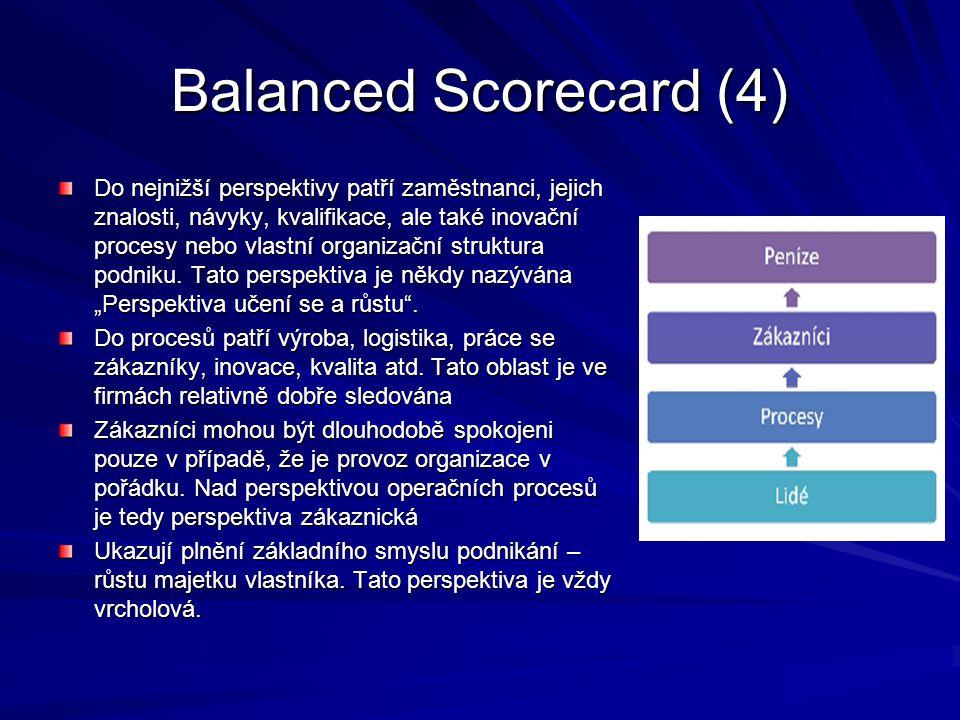 Balanced Scorecard (4) Do nejnižší perspektivy patří zaměstnanci, jejich znalosti, návyky, kvalifikace, ale také inovační procesy nebo vlastní organiz