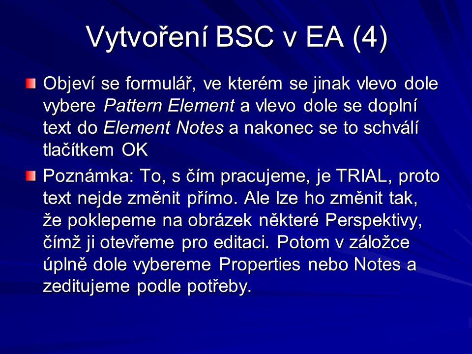 Vytvoření BSC v EA (4) Objeví se formulář, ve kterém se jinak vlevo dole vybere Pattern Element a vlevo dole se doplní text do Element Notes a nakonec