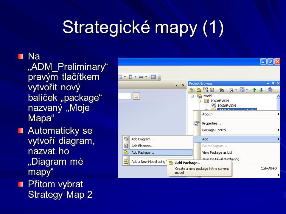 "Strategické mapy (2) Poklepat na ""Diagram Mé Mapy , zobrazí se diagram (prázdný) Pravým tlačítkem na kreslicí ploše (!) vybrat Strategy Map 2"