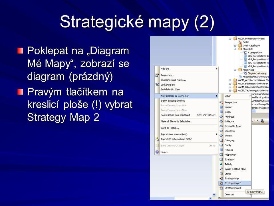 "Strategické mapy (2) Poklepat na ""Diagram Mé Mapy"", zobrazí se diagram (prázdný) Pravým tlačítkem na kreslicí ploše (!) vybrat Strategy Map 2"