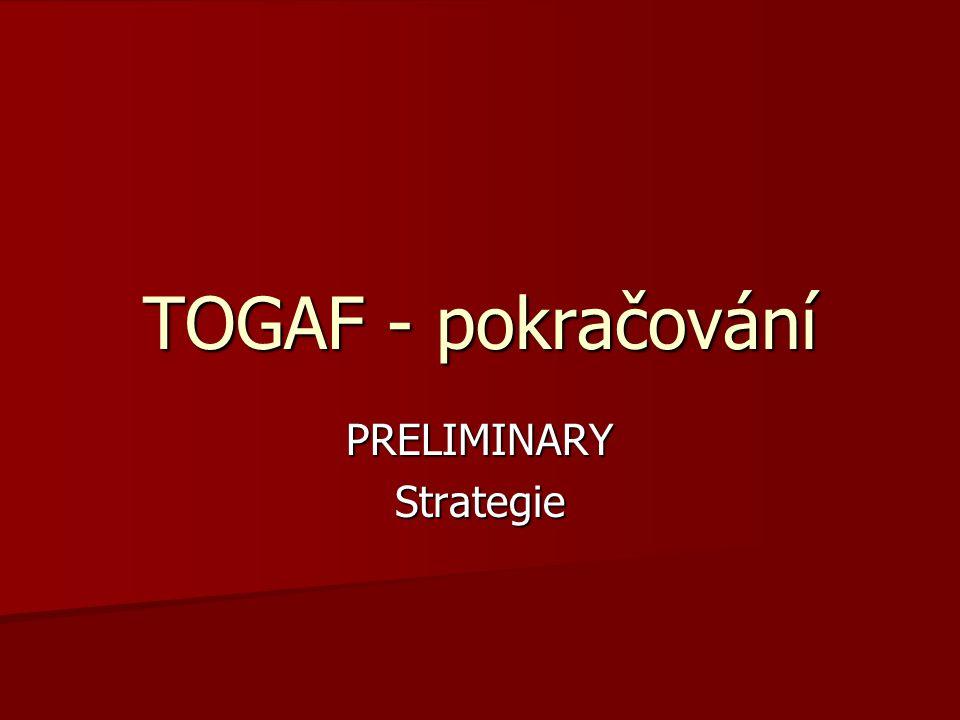 TOGAF - pokračování PRELIMINARYStrategie