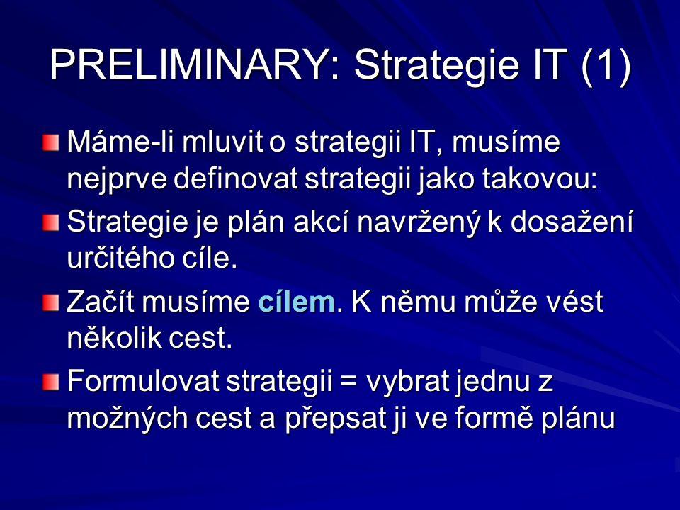 PRELIMINARY: Strategie IT (1) Máme-li mluvit o strategii IT, musíme nejprve definovat strategii jako takovou: Strategie je plán akcí navržený k dosaže