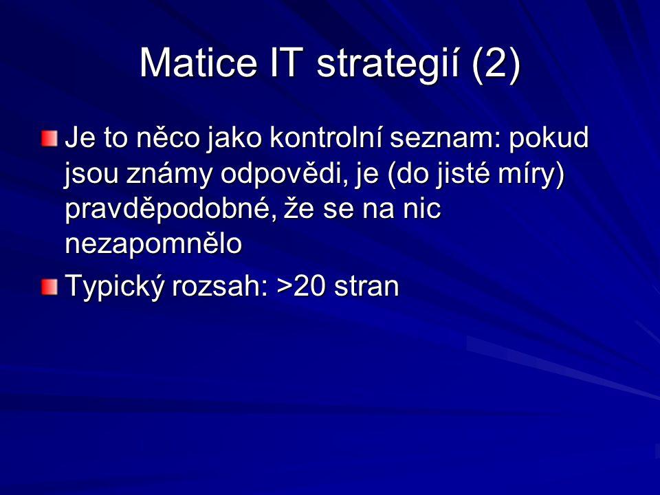 Matice IT strategií (2) Je to něco jako kontrolní seznam: pokud jsou známy odpovědi, je (do jisté míry) pravděpodobné, že se na nic nezapomnělo Typick