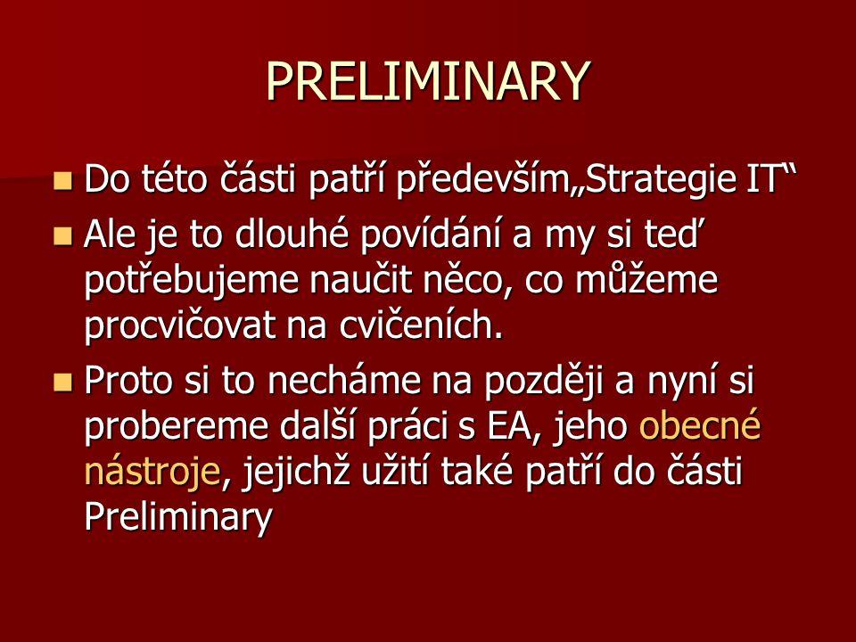 """PRELIMINARY Do této části patří především""""Strategie IT"""" Do této části patří především""""Strategie IT"""" Ale je to dlouhé povídání a my si teď potřebujeme"""