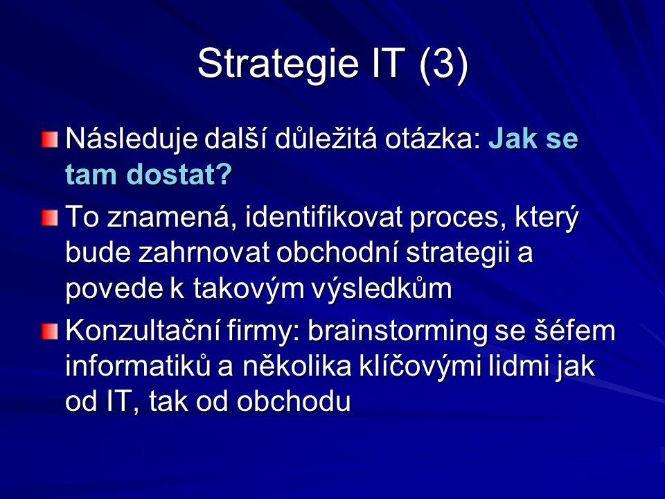 Strategie IT (3) Následuje další důležitá otázka: Jak se tam dostat? To znamená, identifikovat proces, který bude zahrnovat obchodní strategii a poved