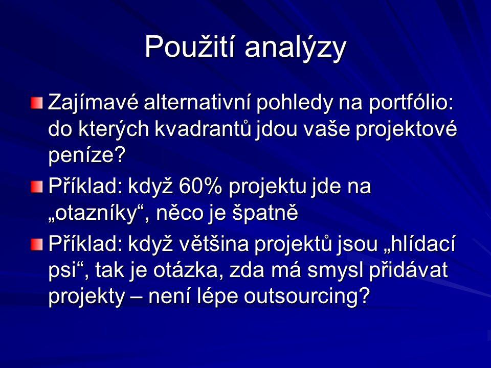"""Použití analýzy Zajímavé alternativní pohledy na portfólio: do kterých kvadrantů jdou vaše projektové peníze? Příklad: když 60% projektu jde na """"otazn"""