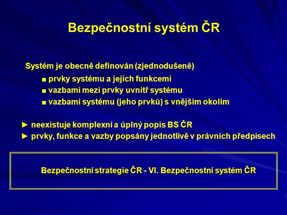 Bezpečnostní systém ČR Systém je obecně definován (zjednodušeně) ■ prvky systému a jejich funkcemi ■ vazbami mezi prvky uvnitř systému ■ vazbami systému (jeho prvků) s vnějším okolím ► neexistuje komplexní a úplný popis BS ČR ► prvky, funkce a vazby popsány jednotlivě v právních předpisech Bezpečnostní strategie ČR - VI.