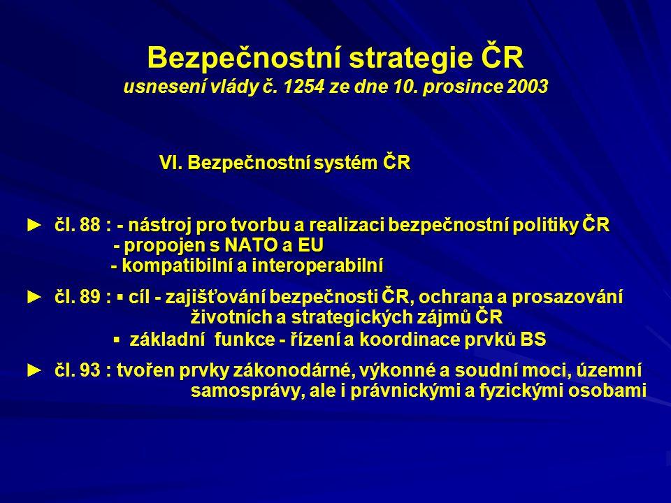Bezpečnostní strategie ČR usnesení vlády č. 1254 ze dne 10. prosince 2003 VI. Bezpečnostní systém ČR nástroj pro tvorbu a realizaci bezpečnostní polit