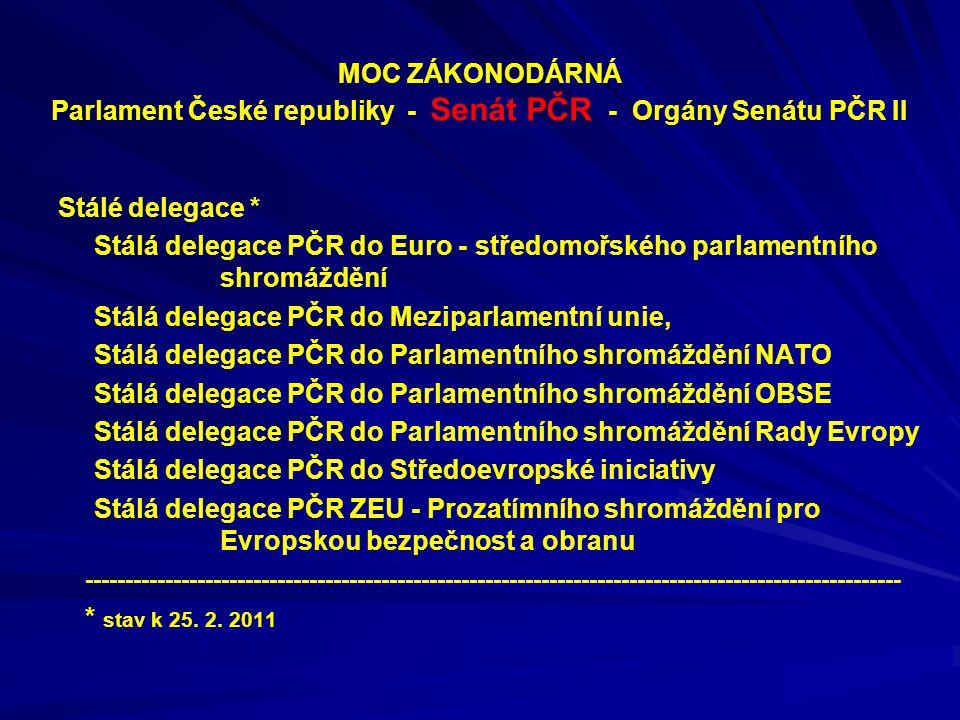MOC ZÁKONODÁRNÁ Parlament České republiky - Senát PČR - Orgány Senátu PČR II Stálé delegace * Stálá delegace PČR do Euro - středomořského parlamentníh