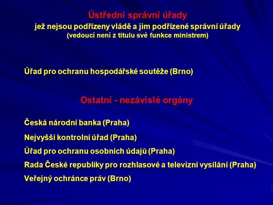 Ústřední správní úřady jež nejsou podřízeny vládě a jim podřízené správní úřady (vedoucí není z titulu své funkce ministrem) Úřad pro ochranu hospodář
